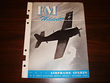 1944 FM Wildcat Airframe Spares Navy ASO Parts Catalog Flight Manual - Original