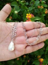 "Natural WHITE BAROQUE PEARL PENDANT Sterling Silver 925 Necklace 19"" Chain"