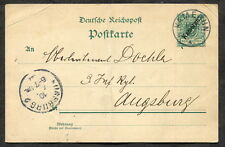 *p587 - GERMANY Colony KAMERUN 1900 Postal Card to Augsburg