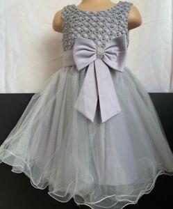 Grey Silver Sparkly Flower Girl Bridesmaid Pageant Diamante Party Dress 0m-13y