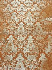 "Orange Pumpskin & Gold Faux Silk Woven Damask 57""w Fabric BTY Drape Upholstery"