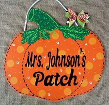 Personalize PUMPKIN Teacher SIGN School Class Classroom Wall Door Plaque Hanger