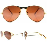 True Vintage Brown Lens Classic Aviation Air Force Style Gold Pilot Sunglasses
