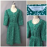 Vintage St Michael M&S Green White Mix Dress UK 18 EUR 46 Made in UK