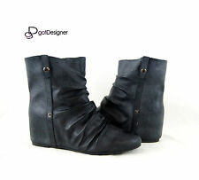 NEW Womens Fashion Ankle Hidden Heels Wedge Shoes Boots PU Casual Black Olive