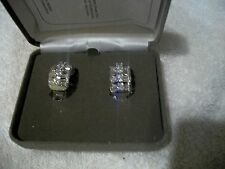 NOLAN MILLER Signed NIB Exquisite Earrings Silvertone Clear Baquette Crystal