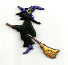 HALLOWEEN WITCH ON A BROOM EMBROIDERED IRON ON APPLIQUE