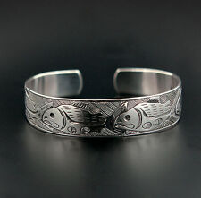 Northwest Coast Native Silver Cuff Bracelet Raven Design Haida Style Aboriginal