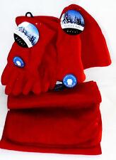 Gold Metal Matching Set 1 Fleece Pair Of Gloves 1 Scarf & 1 Hat RED SZ Medium