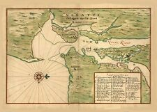 1639 Plan of Dutch New York Manhattan Isle Old Antique Colour Color Map Poster