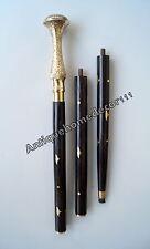 "Antique Brass Designer Victorian Handle Nautical Walking Stick Folding Cane 36"""