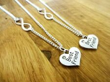 Best friend necklace infinity chain Silver plated BFF diamante heart gift xmas