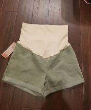 Liz Lange Maternity Green Four Pocket, over belly, under, folded shorts XSMALL