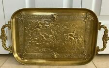 Antique French Relief Mythological Roman Scene Large and Heavy Bronze Tray