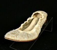 MANOLO BLAHNIK $645 Nude Leather & Floral Lace TOG Ballet Flats 38.5