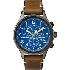 New Timex Men's Expedition Scout Chrono Leather Slip-Thru Strap Watch Blue