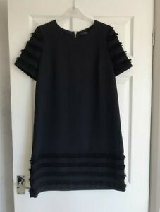 Next Tailoring Navy Tailored Shift Dress with Short Sleeves and Tassels Size 10