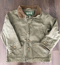 LL BEAN Kids Field Barn Olive Green Jacket Coat XS Boys Size 5/6 Fall Corduroy