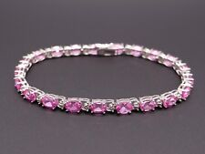 10k White Gold 10.50ct Oval Cut Pink Ice Cubic Zirconia Tennis Bracelet 7.5 inch