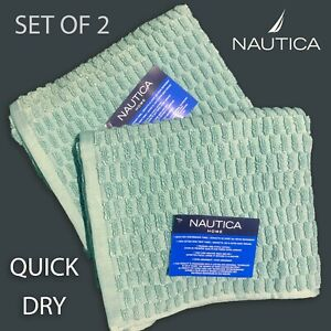 SET OF 2 New NAUTICA HOME Cotton Hand Towels QUICK DRY Textured Beachwood Green