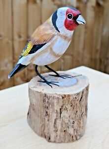 Goldfinch Hand Carved Painted Bird Wood Log Tree Stump Wooden Figure Ornament