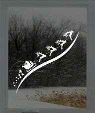 Santa Sleigh Christmas Reindeer Rudolph Window Sticker Vinyl Decal Decoration