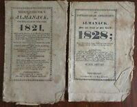 Astronomical Ephemeris Almanacks 1821 & 1828 Connecticut Sanford & Middlebrook