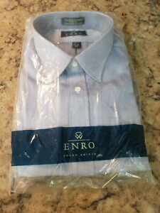 Vintage Enro Solid Blue Dress Shirt Button Up 18 1/2 35 Big and Tall Long Sleeve
