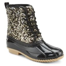 NEW *LADIES GOLD SEQUIN DUCK BOOTS. SIZE 5.5.6.6.5.7.7.5.8.8.5.9.10.11