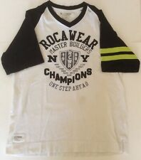 """Roca Wear Mens L T Shirt """"NY Champions"""" Stitched Letter Two Tone Spellout"""