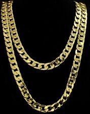 """2pc Set 24"""" 30"""" Cuban Link Chains 14k Gold Plated Hip Hop 12mm Necklaces"""