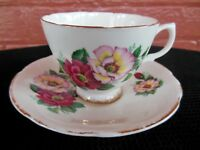 Fine Bone China Made in England Floral Motif Cup & Saucer Set