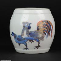 Perfect 18C Japanese Arita Imari Vase Jar Japan Rooster Flowers Antique Unusual