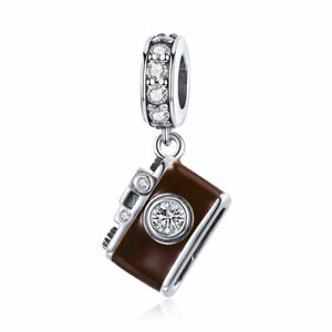 Authentic 925 Sterling Silver CZ Brown Camera Dangle Charm Jewelry Women Present