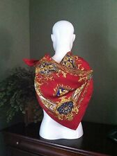 Stunning Huge Red Charmeuse Scarf w Dragons & Shields in Golds & Blues