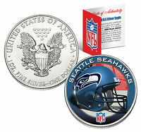 SEATTLE SEAHAWKS 1 Oz .999 Fine Silver American Eagle $1 US Coin NFL LICENSED