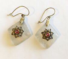 Antique Vintage 14k Carved Crystal Ear Rings With Diamonds & Rubies