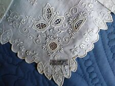 Vintage Madeira/Appenzell Hand Embroidered Linen Hanky~Bridal~Nwt~Tag~Fill ings