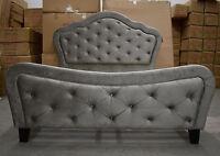 Double Chesterfield Sleigh Upholstered Velvet Fabric Metallic Grey Bed Frame