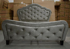 Double Chesterfield Sleigh Upholstered Velvet Fabric Metallic Grey Bed Frame