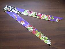 Violet Silk Twilly~Silk Handbag Tie~Silk Scarf~100% Silk Tie~Leopard Floral Prin