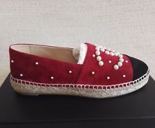 2018 CHANEL ESPADRILLES RED ROSSO SUEDE 37 6 PEARL 17B  FLATS SHOES SPRING CC