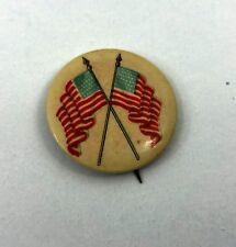 Vintage 1915 Pinback Button Celluloid Double American Flag Circa WWI
