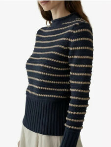BNWT Toast Wool Cotton Textured Stripe Jumper Size Small S Navy/Parch RRP £160