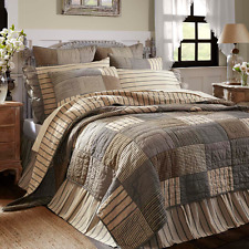 Sawyer Mill King Quilt Grey/Creme Patchwork Block Farmhouse Plaid Country Vhc