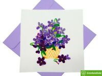 Basket of Violets Quilling Greeting Card - Unique Dedicated Handmade Art