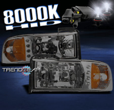 1994-2001 DODGE RAM PICKUP LED SMOKE CRYSTAL HEAD LIGHTS+8000K HID CORNER SIGNAL