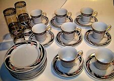 28 Piece Fine Porcelain Hedelin China from Tang Shan  orchid pattern gold trim
