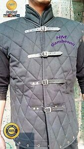 Gift for him and her Medieval Beautiful sober black color sleeveless Gambeson