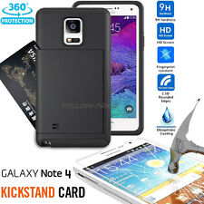 GALAXY Note 4 Wallet Case [+Bubble Free Glass Film] Shockproof Hybrid Stand Cove